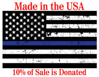 "Thin Blue Line, USA Distressed Flag 3"" x 5"" - High Quality Laminated Vinyl Decal"