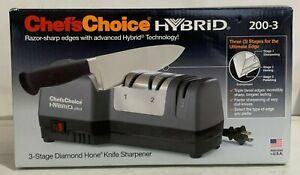 Chef's Choice Hybrid Three 3-Stage Diamond Home Knife Sharpener 200-3 Stone