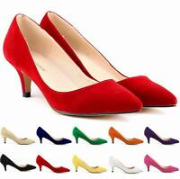 Women's Solid Mid Heel Kitten Heels Faux Suede Pointed Toe Pumps Shoes Plus Size