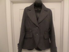 NY Yoki Collection - GREY Wool Riding Jkt w/Leather Accent - Women Large