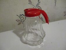 Vtg Federal Tool Co. Housewares Glass Syrup Pitcher Dispenser Red Handle /Ribbed
