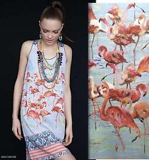 DREAM DAILY ROZAE NICHOLS Anthropologie ELORNIS SHIFT Dress M 8 FLAMINGO Birds