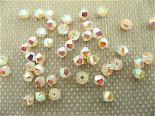 48 White Opal AB2X Swarovski Crystal Beads Bicone 5328 3mm