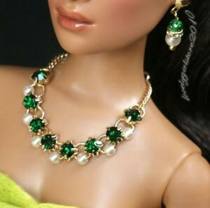 """Rhinestone Necklace and Earring Jewelry Set fits 16"""" Tonner dolls 091B"""