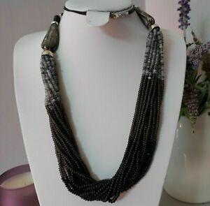 Ethnic Statement Black Grey Multi Strand Seed Beaded Cord Costume Necklace Retro