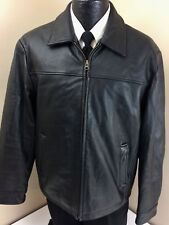 Columbia Men BLACK Leather SNAP BACK Jacket CAFE RACER Motorcycle Zipper Coat M