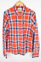 Hollister Men Casual Shirt Red Plaid Check Cotton size XL