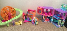 POLLY POCKET WORLD COMPACT VACATION HOTEL RESORT HOUSE PLANE DOLL LOT