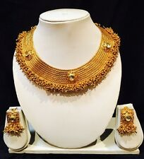 Bollywood Indian Bridal Necklace Earrings Jewellery Brass Antique Gold Tone K3