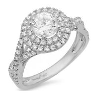 1.5ct Round Cut Halo Wedding Bridal Engagement Anniversary Ring 14k White Gold