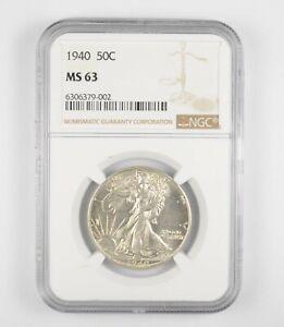 1940 MS63 Walking Liberty Half Dollar - Graded By NGC - Choice Unc *228