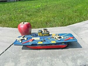 Vintage Tin Friction US Navy Military Aircraft Carrier Toy Boat works