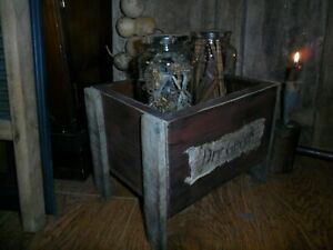 Primitive Wooden Dry Goods Box, (2) Early Look  Pantry Jars, Sunflower Heads +++