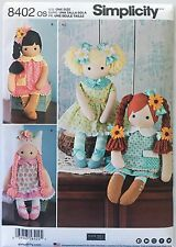 """SIMPLICITY SEWING PATTERN 8402 23"""" Stuffed Dolls and clothes Rag Doll"""