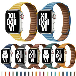Slim Magnetic Leather Link Loop Wrist Strap For Apple iWatch Band Series 6 5 4 3