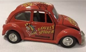 Vintage VW Beetle Red 1/32 Diecast Pull Back The Lovely Spider As-Is