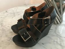 ffb6f6c04  685 MARNI Black Leather Peep Toe Platform Ankle Strap Wedge Sandals  37EU 7US