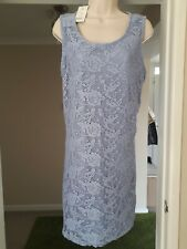 Brand New George Powder Blue Summer Dress With Lace Look Design Size 18