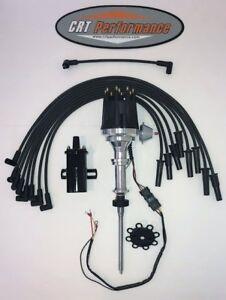51-64 Studebaker V8 232 259 289 304 HEI Distributor BLACK + 45K Coil + 8mm Wires
