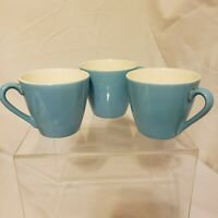 3 VTG BLUE HEAVEN Turquoise ROYAL USA CHINA 60s Mid Century Flat Tea Cups Set
