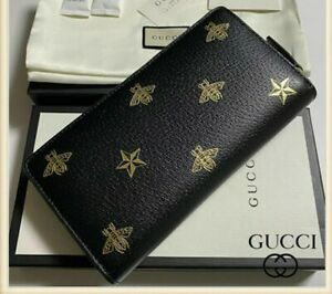 Gucci Black Leather Large Long Wallet Zip Around Gold Oro Bee Star Italy NEW