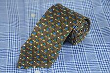 Brooks Brothers Uomo Cravatta Verde Marrone & Blu Equestre Hat di Seta con