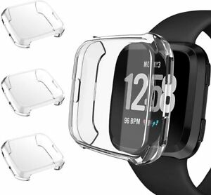 3 Pack Screen Protector Case For Fitbit Versa and Lite TPU Clear Full Cover Skin