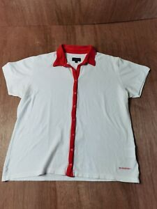 Burberry Golf T-shirt Size XL White/Red Top short sleeve snap button