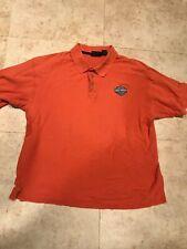 Harley Davidson Mens Polo Shirt- Orange Patch Golf Motorcycle - Size Large