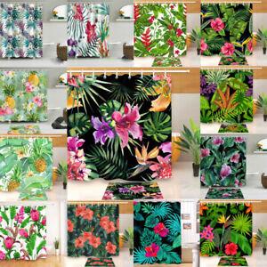 "Tropical Palm Leaf Flower Bath Shower Carpet Mat Rug Bathtub Curtain Hooks 71"""