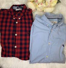 H & M Boys Size 14 Dress Shirt Lot Of 2 Long Sleeve Blue And Plaid