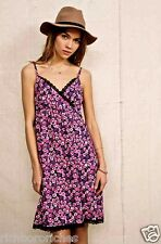 NEW Urban Outfitters Urban Renewal pink black Surplice Slip Dress Lace S