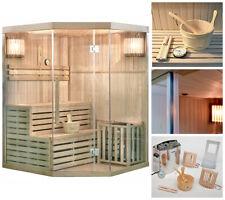 HOME DELUXE Sauna Saunakabine Ecksauna Massivholz Traditionell Harvia Saunaofen