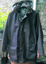 """MENS OXFORD BLUE RUSTIC BROWN WAXED HOODED JACKET SIZE XL/XX 44"""" BARBOUR STYLE"""