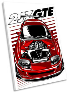 Toyota 2JZ-GE Car Picture CANVAS WALL ART Portrait Print Red