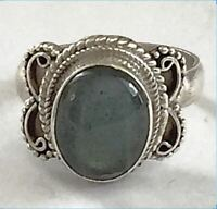 Sterling Silver Ethnic Asian Vintage Style Labradorite Stone Ring Size P Gift