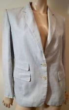 LAUREN RALPH LAUREN Pale Blue & Cream Linen Casual Blazer Jacket Sz4 UK8