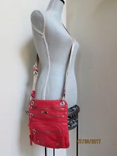 Franco Sarto Bright Red Leather Crossbody Travel Purse Lots of zipper Pockets