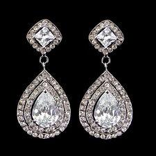 Luxury Twinkling 5cm Long Tear Drop Big Drip Use Austria Crystal CZ Earrings