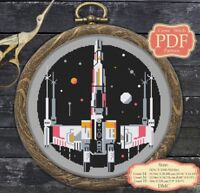 X-Wing Starfighter - Cross stitch PDF pattern Modern Embroidery Hoop Art #011