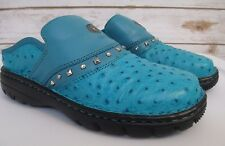 Double H Boots Turquoise Ostrich Print Leather Mules Slides Shoe Womens Size 5D