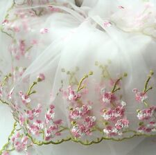 Lace Embroidery Floral Organza Fabric Wedding Dress Tutu Skirt 100 130 CM White
