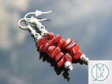Red Jasper Natural Chip Gemstone Earrings Drop Quartz Crystal Chakra Healing