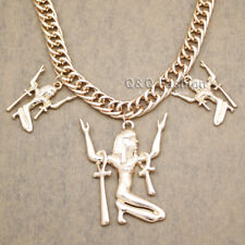 Egyptian Cleopatra Gold Triple ISIS Ankh Cross Statement Bib Necklace