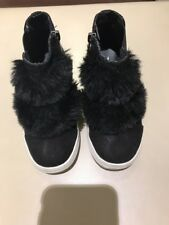 Nina Girl's Helen Black Fur Sneakers, Size 11 (kids)
