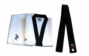 Taekwondo Uniform White with Black V-Neck Dobok Black Collar Black Belt Include