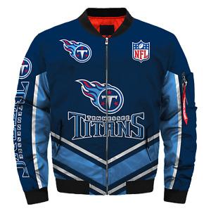Men's Tennessee Titans Bomber Jacket Flight Thicken Coat Football Outwear
