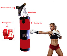 Heavy Duty Hanging MMA Boxing Bag with Wall Mount Chain & Boxing Gloves SET NEW