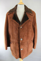 AMAZING VINTAGE 1970's ANARTEX BROWN SUEDE LEATHER SHEEPSKIN LINED COAT 42 INCH