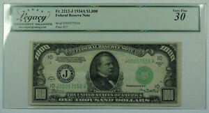 1934-A $1000 One Thousand Dollar Bill FRN Fr. 2212-J Legacy VF-30 (DW)
